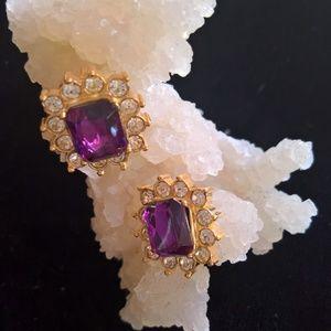 Avon Emerald Cut Button Earrings